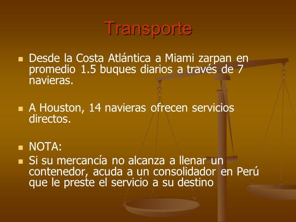 TransporteDesde la Costa Atlántica a Miami zarpan en promedio 1.5 buques diarios a través de 7 navieras.