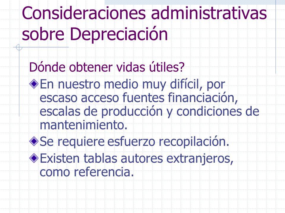 Consideraciones administrativas sobre Depreciación
