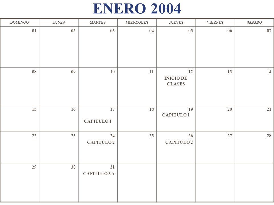 ENERO 2004 DOMINGO. LUNES. MARTES. MIERCOLES. JUEVES. VIERNES. SABADO. 01. 02. 03. 04. 05.