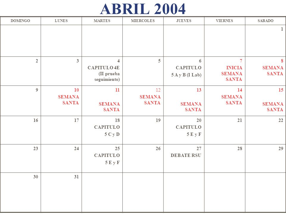 ABRIL 2004 1 2 3 4 CAPITULO 4E (II prueba seguimiento) 5 6 CAPITULO