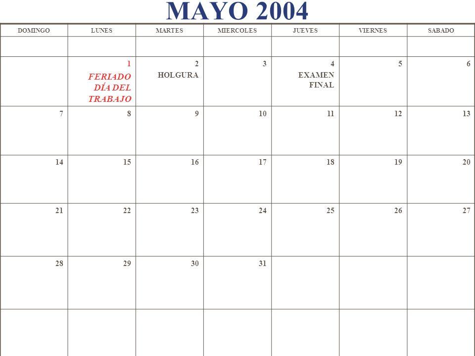 MAYO 2004 1 FERIADO DÍA DEL TRABAJO 2 HOLGURA 3 4 EXAMEN FINAL 5 6 7 8