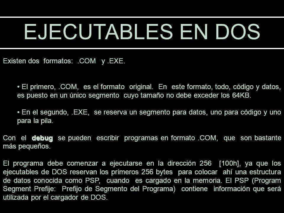 EJECUTABLES EN DOS Existen dos formatos: .COM y .EXE.