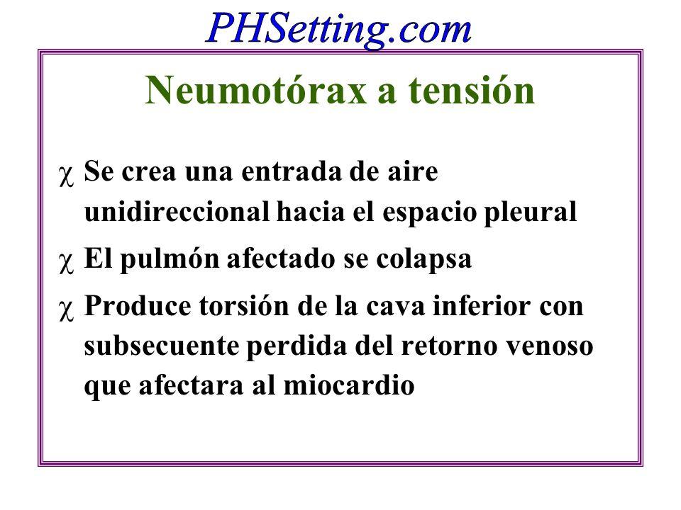 Neumotórax a tensión Se crea una entrada de aire unidireccional hacia el espacio pleural. El pulmón afectado se colapsa.
