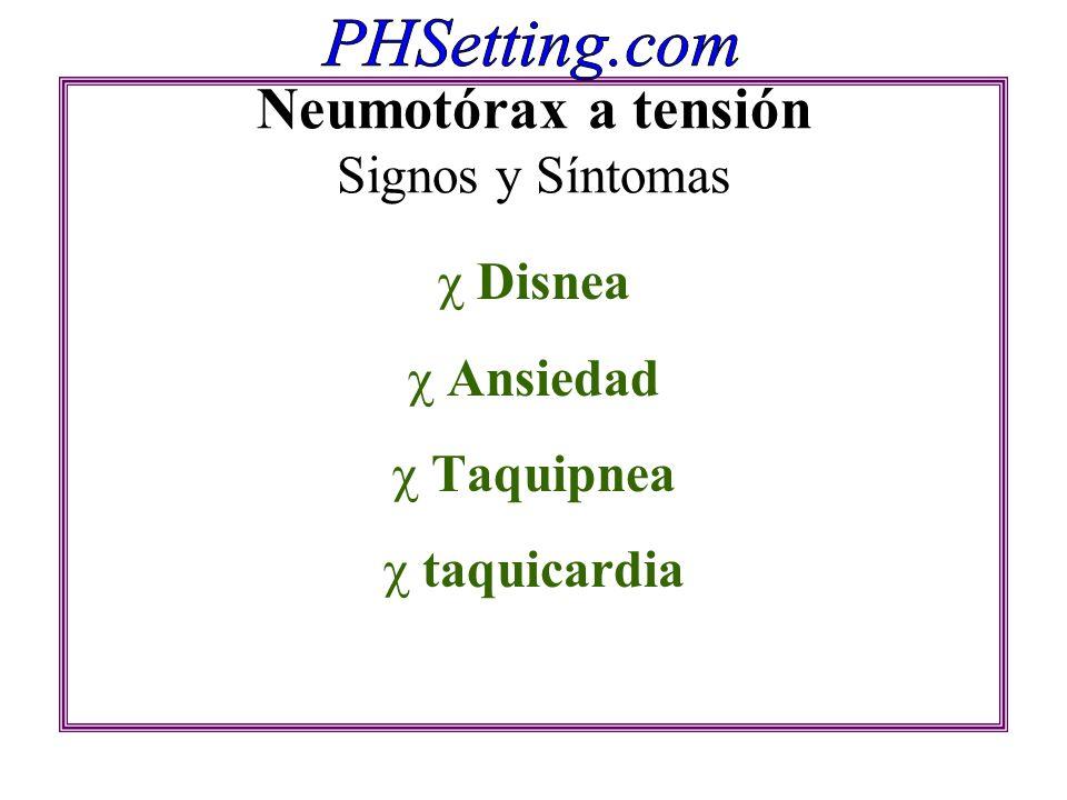 Neumotórax a tensión Signos y Síntomas