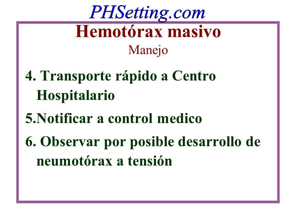Hemotórax masivo Manejo