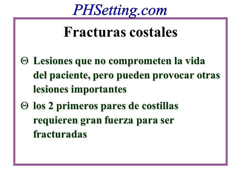 Fracturas costales Lesiones que no comprometen la vida del paciente, pero pueden provocar otras lesiones importantes.