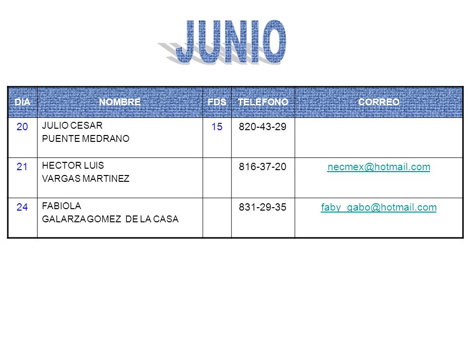 JUNIO 20 15 820-43-29 21 816-37-20 necmex@hotmail.com 24 831-29-35