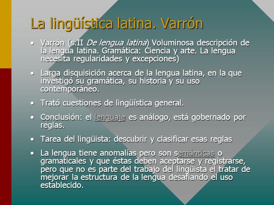 La lingüística latina. Varrón