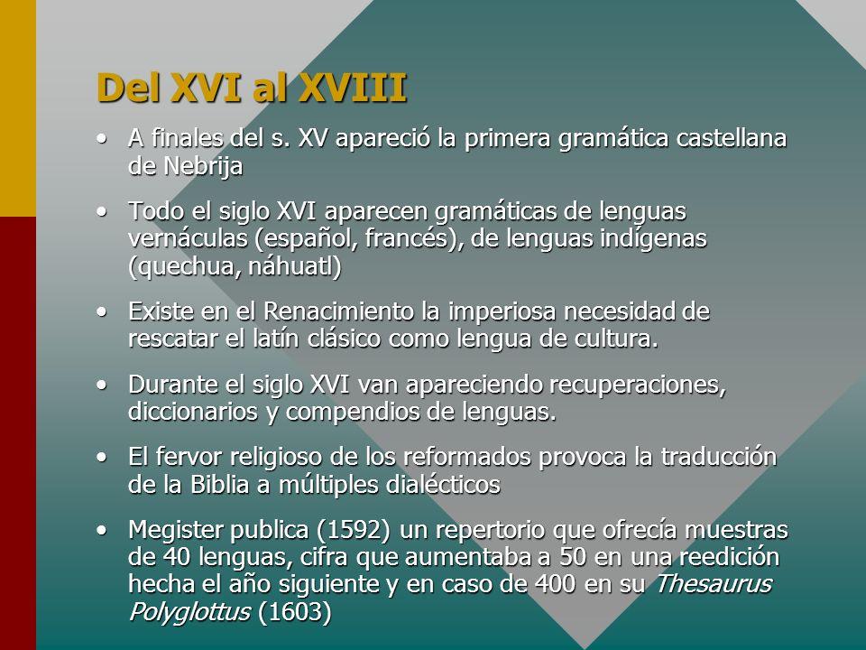 Del XVI al XVIIIA finales del s. XV apareció la primera gramática castellana de Nebrija.