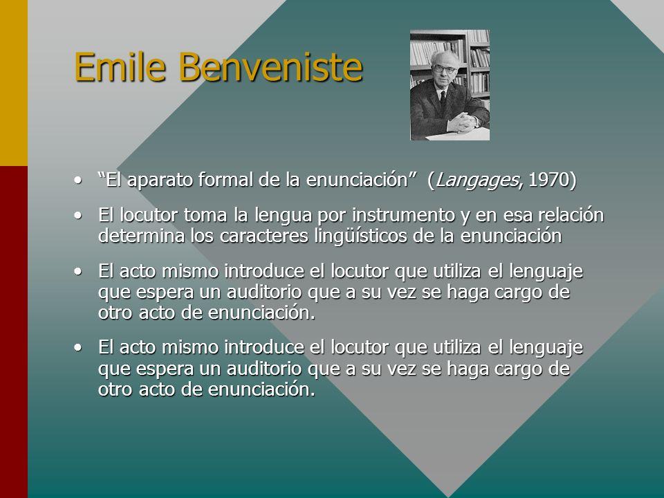 Emile Benveniste El aparato formal de la enunciación (Langages, 1970)