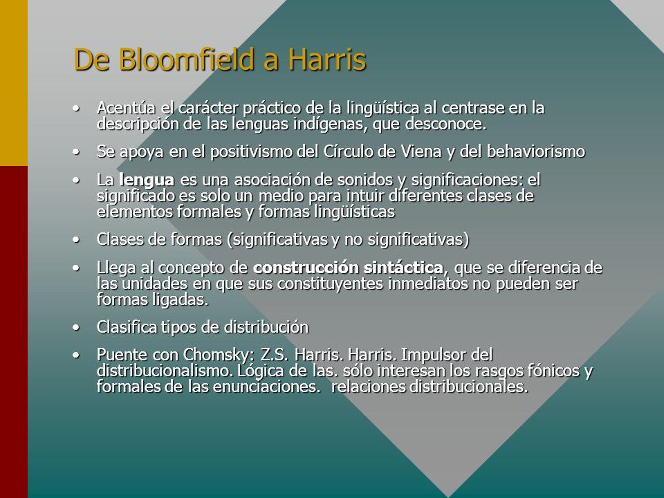De Bloomfield a HarrisAcentúa el carácter práctico de la lingüística al centrase en la descripción de las lenguas indígenas, que desconoce.