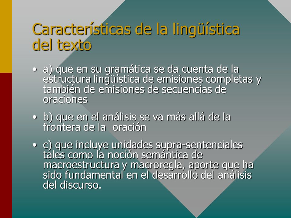 Características de la lingüística del texto