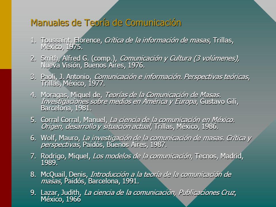 Manuales de Teoría de Comunicación