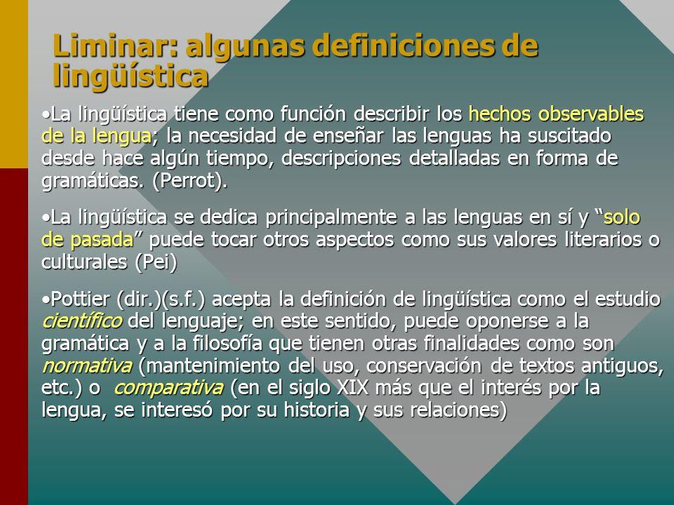 Liminar: algunas definiciones de lingüística