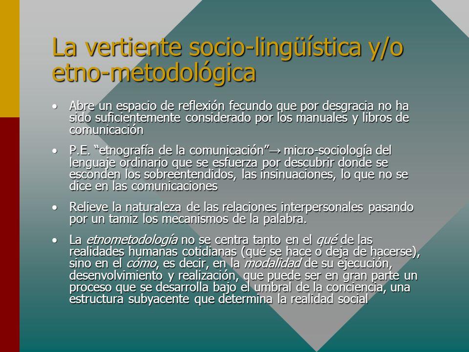 La vertiente socio-lingüística y/o etno-metodológica