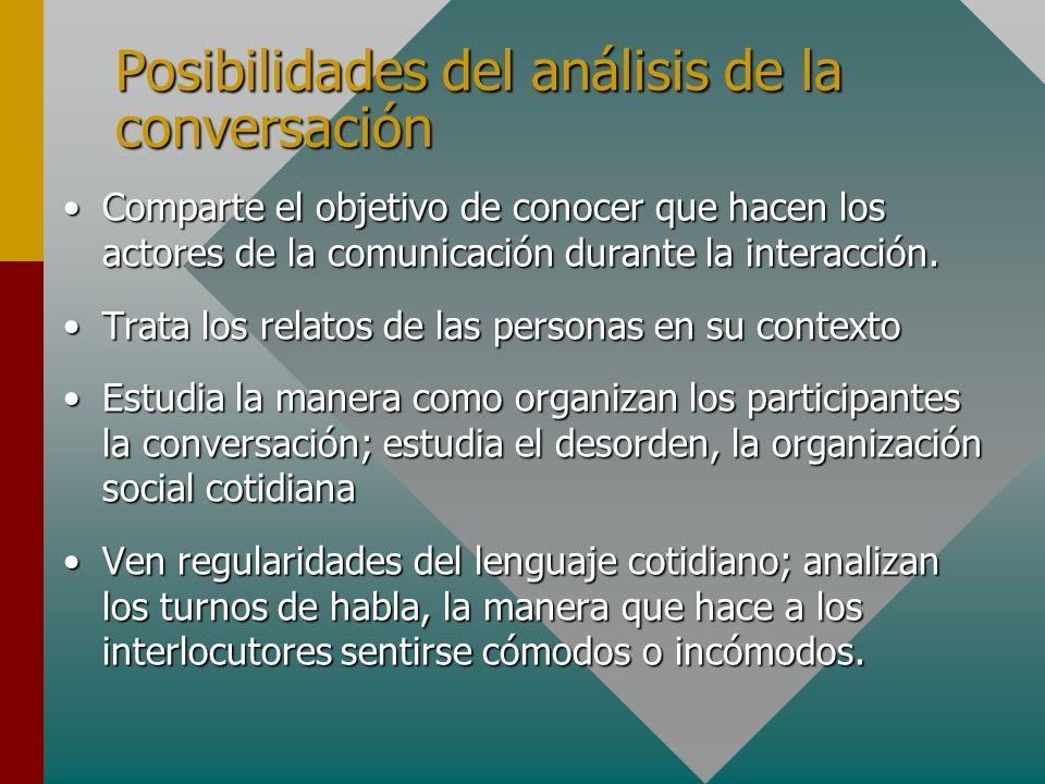 Posibilidades del análisis de la conversación