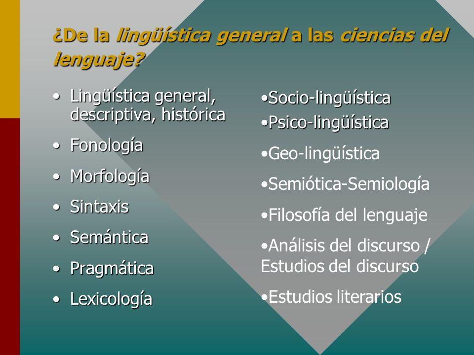 ¿De la lingüística general a las ciencias del lenguaje