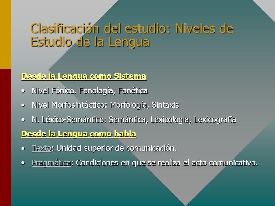 Clasificación del estudio: Niveles de Estudio de la Lengua