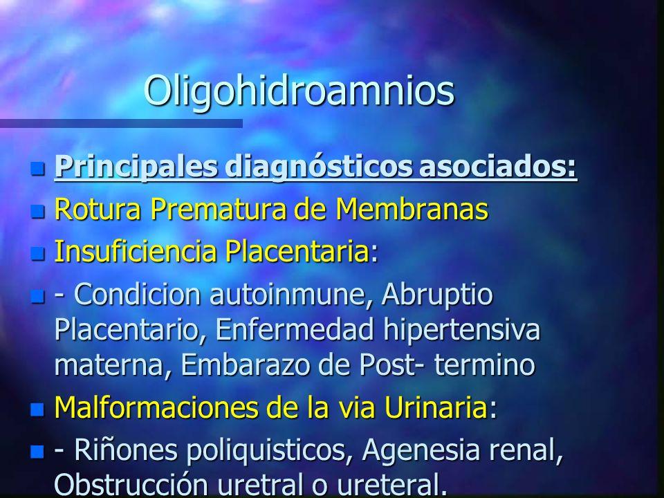 Oligohidroamnios Principales diagnósticos asociados: