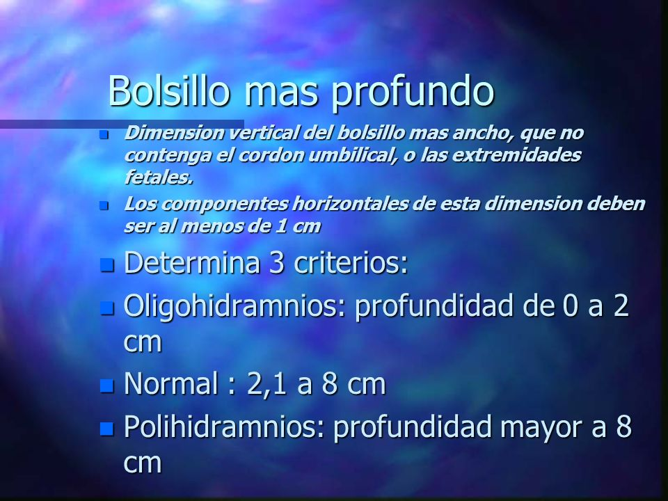 Bolsillo mas profundo Determina 3 criterios: