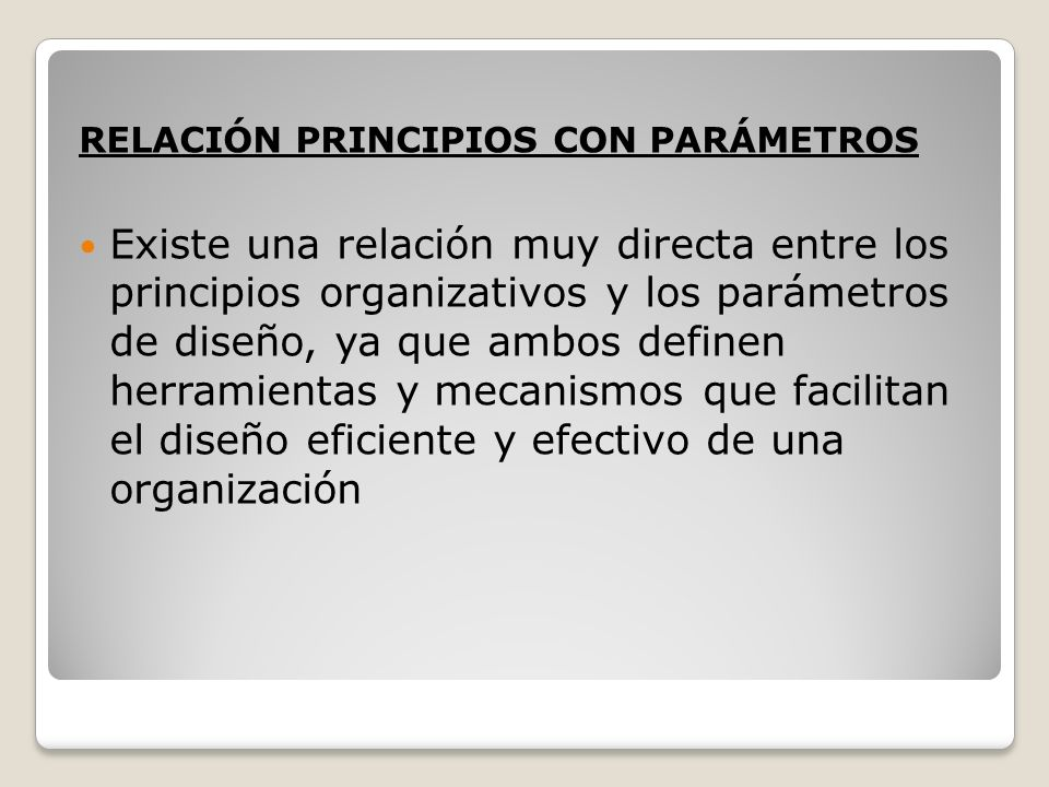 RELACIÓN PRINCIPIOS CON PARÁMETROS