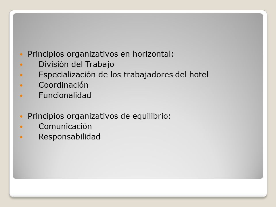 Principios organizativos en horizontal: