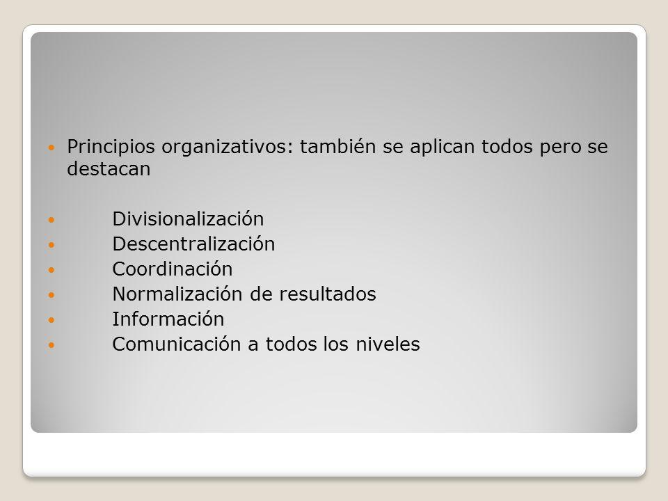 Principios organizativos: también se aplican todos pero se destacan