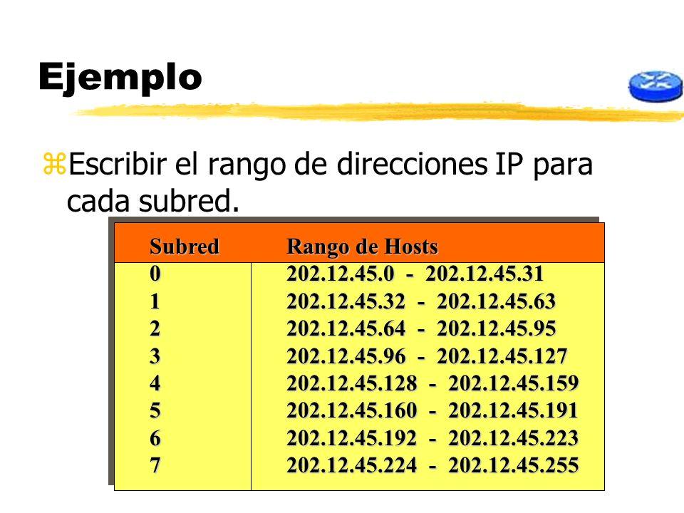 Ejemplo Escribir el rango de direcciones IP para cada subred.