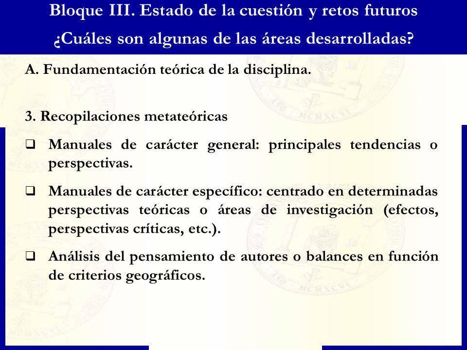 Bloque III. Estado de la cuestión y retos futuros