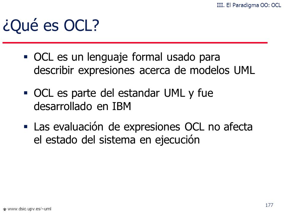 III. El Paradigma OO: OCL