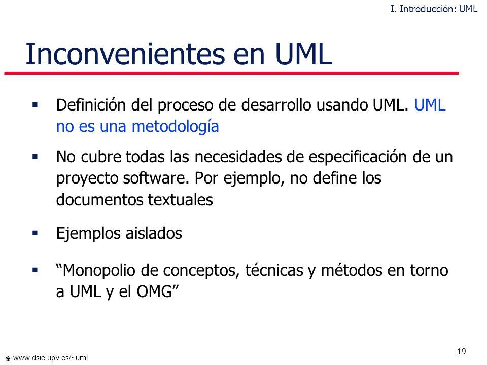 I. Introducción: UML Inconvenientes en UML. Definición del proceso de desarrollo usando UML. UML no es una metodología.