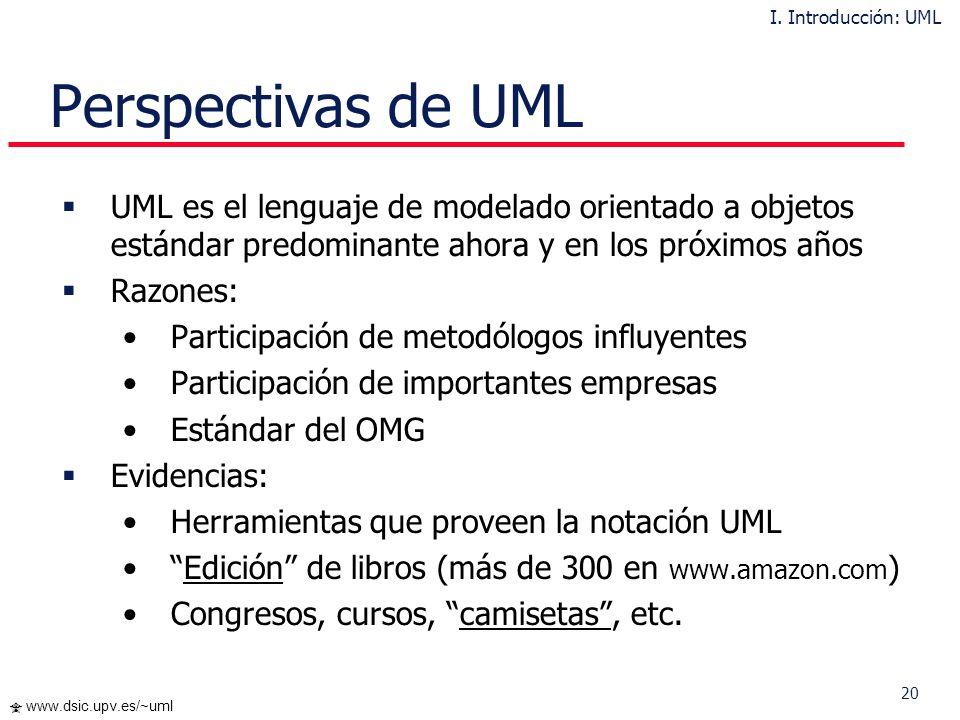 I. Introducción: UML Perspectivas de UML. UML es el lenguaje de modelado orientado a objetos estándar predominante ahora y en los próximos años.