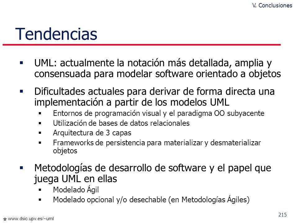 V. Conclusiones Tendencias. UML: actualmente la notación más detallada, amplia y consensuada para modelar software orientado a objetos.