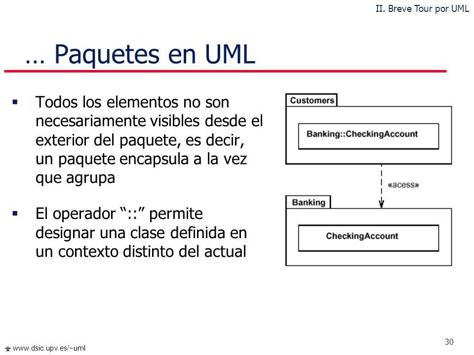 II. Breve Tour por UML … Paquetes en UML.