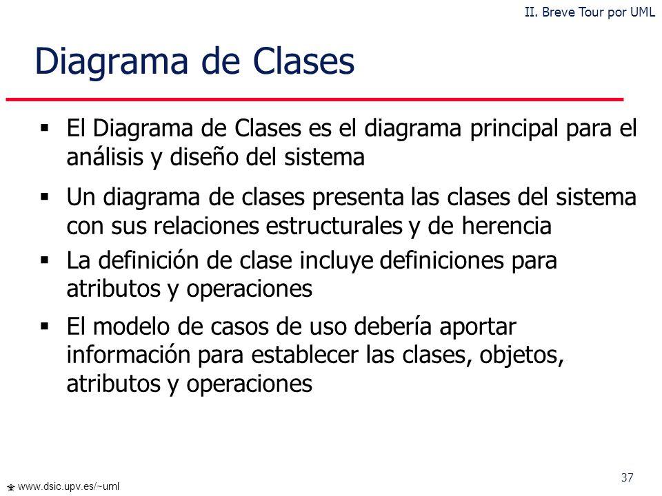 II. Breve Tour por UML Diagrama de Clases. El Diagrama de Clases es el diagrama principal para el análisis y diseño del sistema.