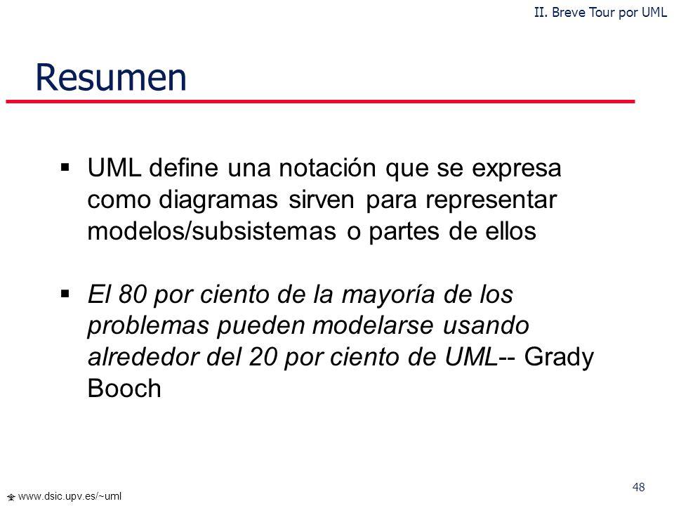 II. Breve Tour por UML Resumen. UML define una notación que se expresa como diagramas sirven para representar modelos/subsistemas o partes de ellos.