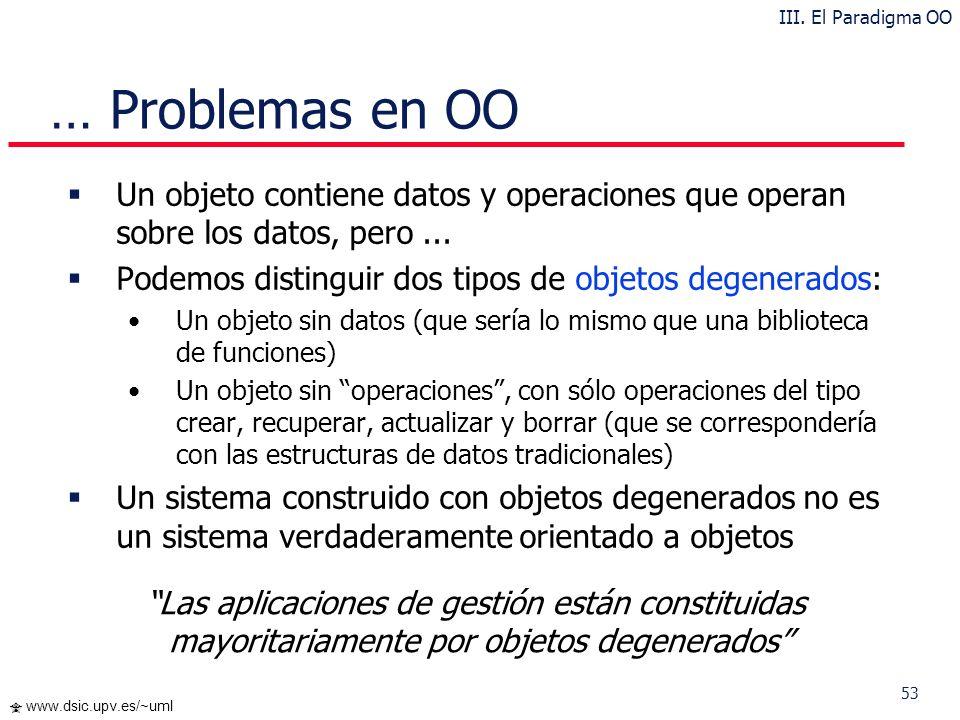 III. El Paradigma OO … Problemas en OO. Un objeto contiene datos y operaciones que operan sobre los datos, pero ...