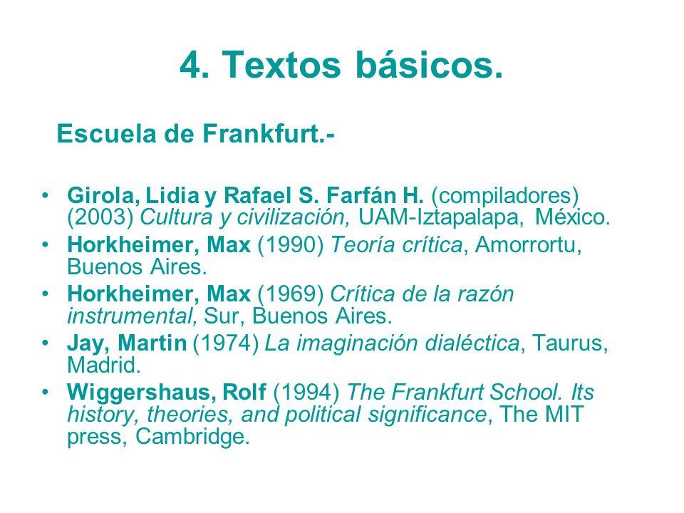 4. Textos básicos. Escuela de Frankfurt.-