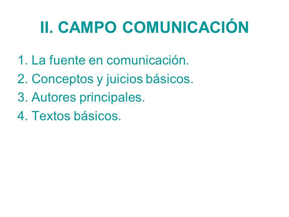 II. CAMPO COMUNICACIÓN 1. La fuente en comunicación.