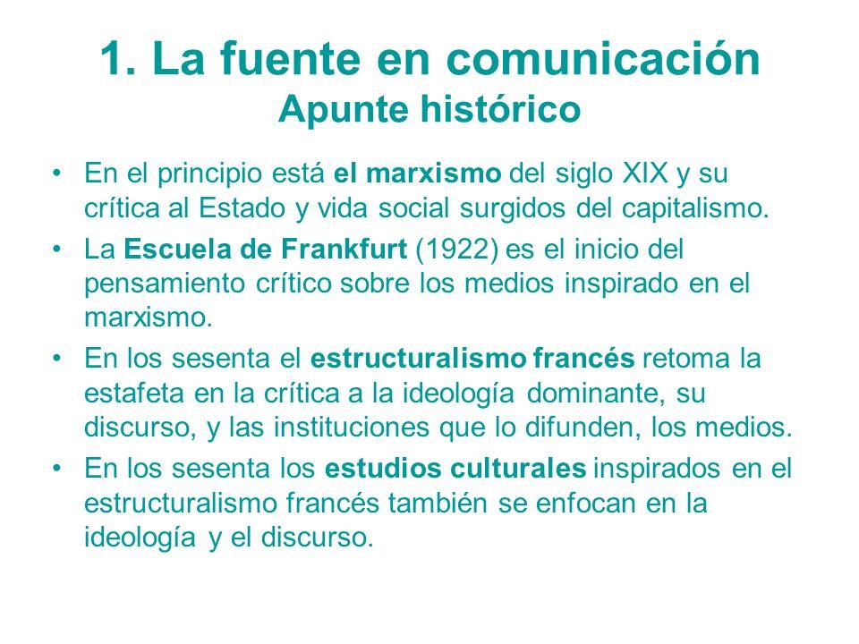 1. La fuente en comunicación Apunte histórico