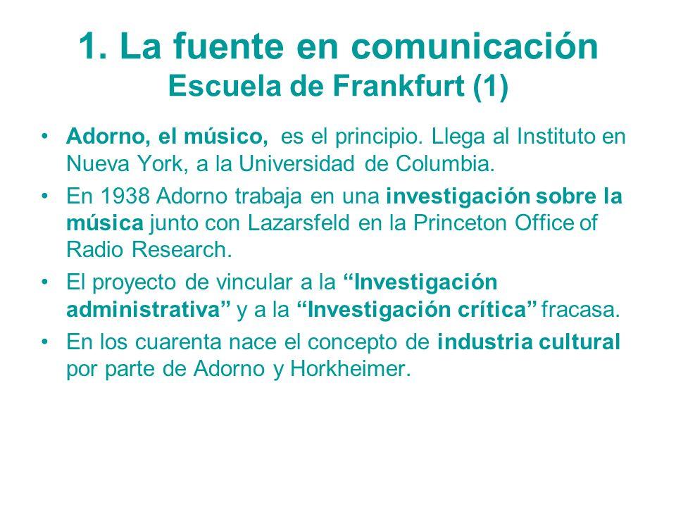 1. La fuente en comunicación Escuela de Frankfurt (1)