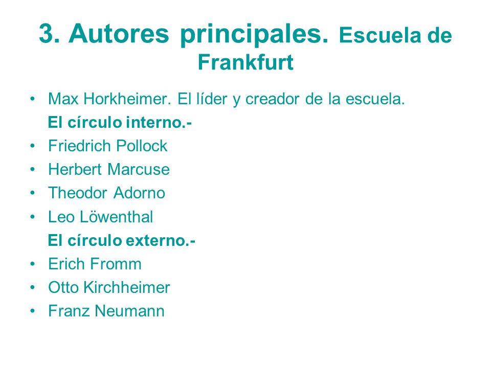 3. Autores principales. Escuela de Frankfurt