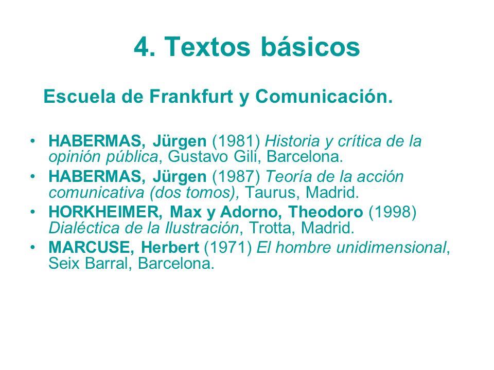 4. Textos básicos Escuela de Frankfurt y Comunicación.