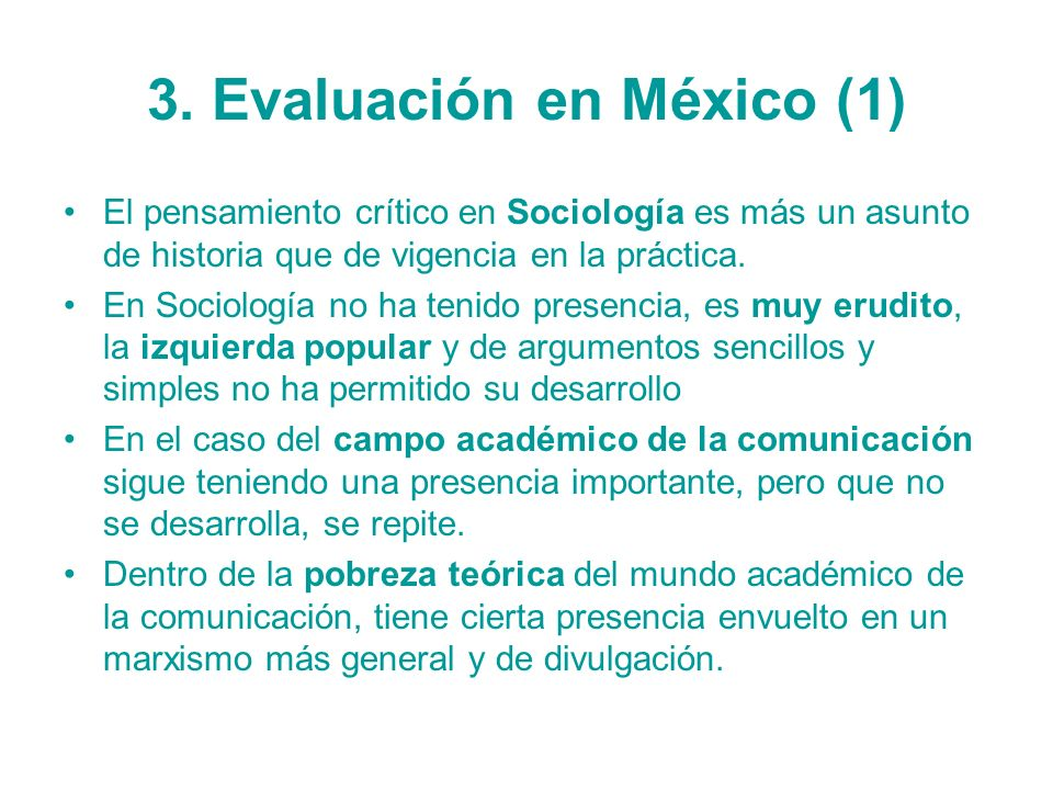 3. Evaluación en México (1)