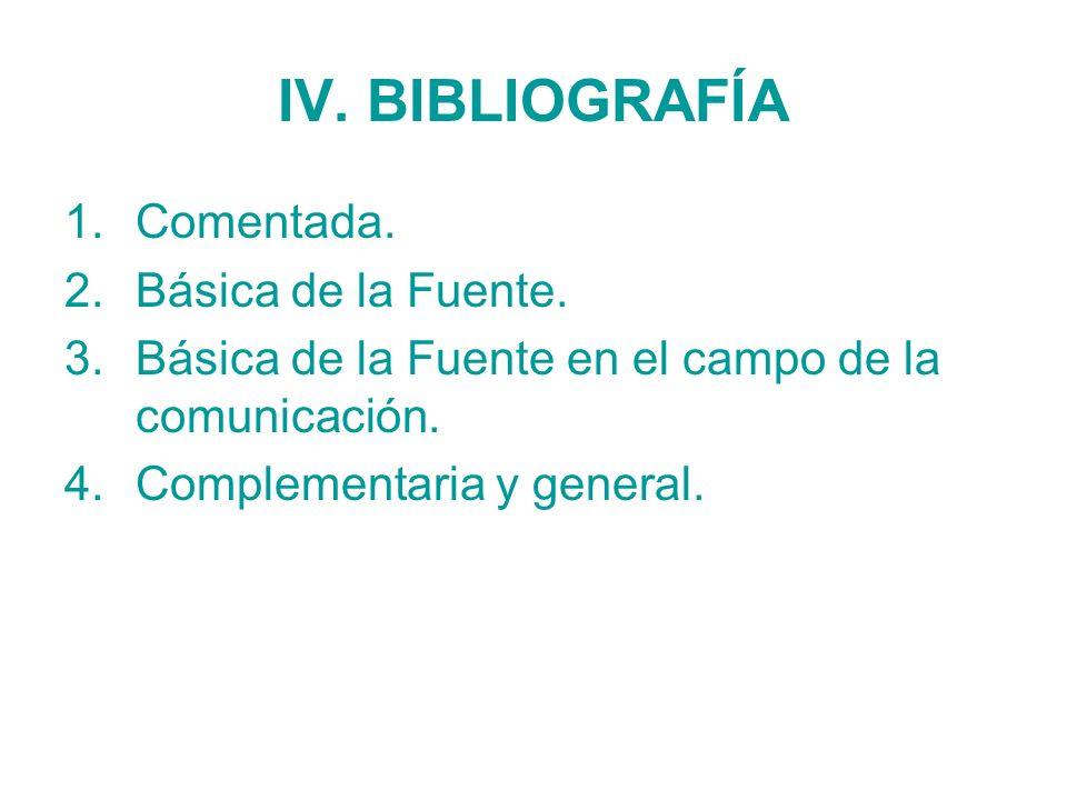 IV. BIBLIOGRAFÍA Comentada. Básica de la Fuente.