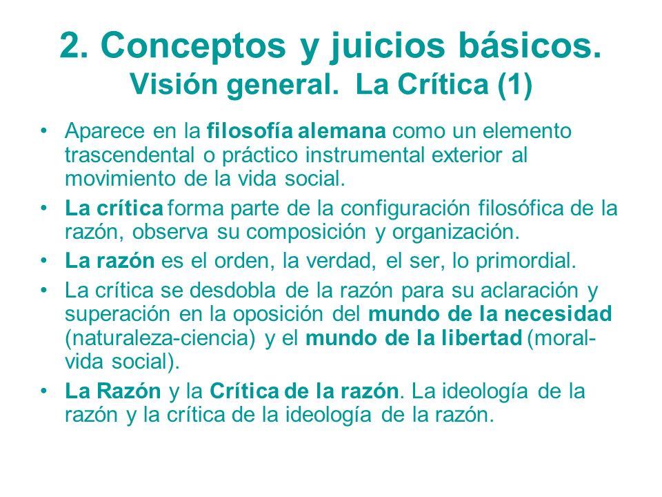 2. Conceptos y juicios básicos. Visión general. La Crítica (1)