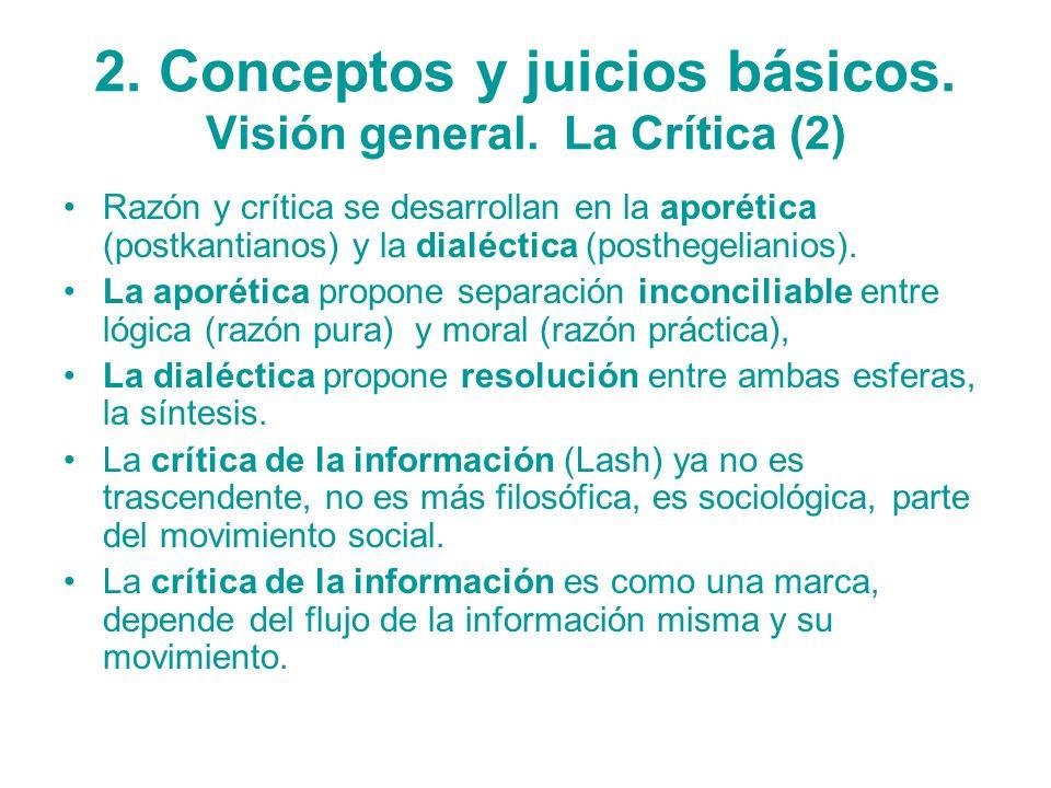 2. Conceptos y juicios básicos. Visión general. La Crítica (2)