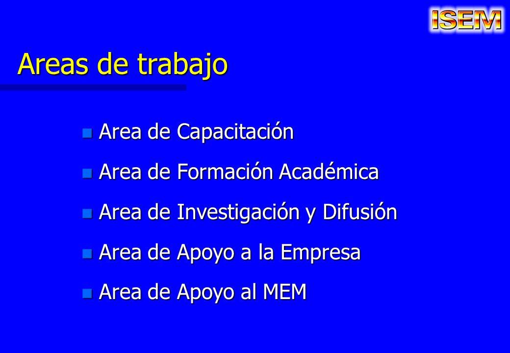 Areas de trabajo Area de Capacitación Area de Formación Académica