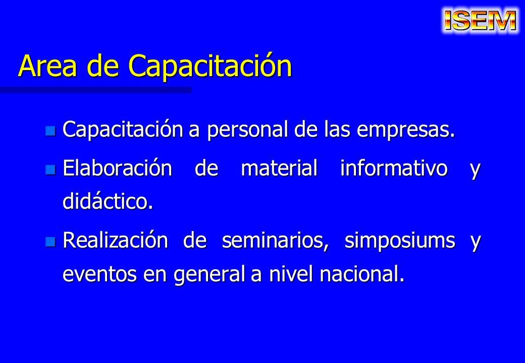 Area de Capacitación Capacitación a personal de las empresas.