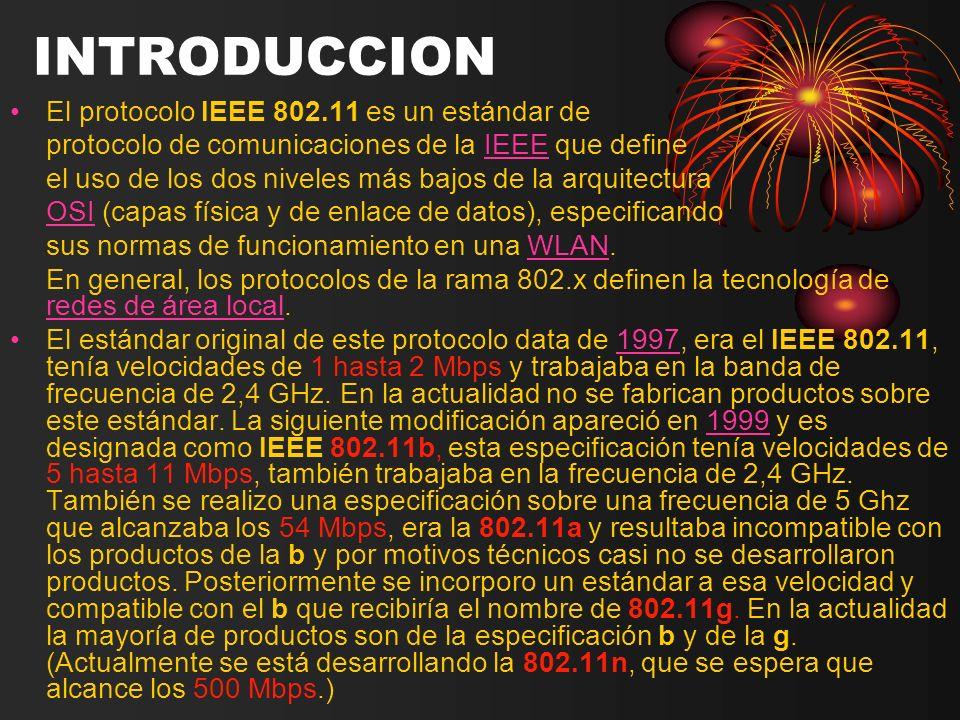 INTRODUCCION El protocolo IEEE 802.11 es un estándar de
